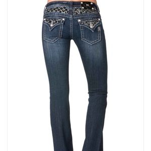 Miss Me Dark Boot Cut Jeans with black sequins